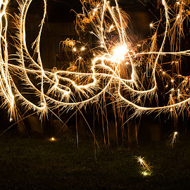Motion by Missy Norman - Abstract Light Painting ( sparkler, light painting, movement, outdoors, missynormanphotography, sparks, light, painting, missy norman, outside )