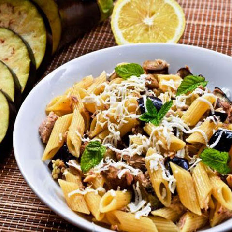 Pasta Salad with Tuna, Eggplant and Mint