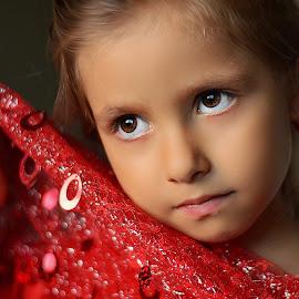 behind red scarf by Julian Markov - Babies & Children Child Portraits