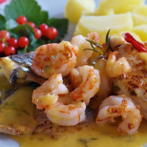 Baked Sea Bass With Shrimp Sauce