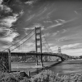 Golden Gate Bridge by Pravine Chester - Black & White Buildings & Architecture ( monochrome, black and white, bridge, architecture, landscape, photography )