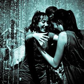 Friends by Matt Cooper - People Street & Candids ( girls, hug, wet, rain )