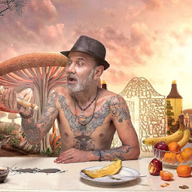 Uncle Tony in Wonderland by Miko Adji - Digital Art People ( indoor, digital art, fine art, jakarta, conceptual, man )