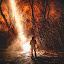 Arrival by Mike DeMicco - People Portraits of Men ( silhouette, woods, smoke, fire, portrait, skye, snow, dark, trees, arrival, alien, night, beam, light )