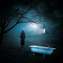 Creepy Night by Nermin Smajić - Digital Art Places ( scary, creepy, shack, woman, night, horror )