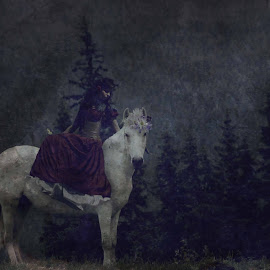 The Leader and the Lady by Carrie Lopez - Digital Art People ( old, horse, fine art, dim, painterly, woman, timeless, dark, flowers, fairytale, flower, butterfly, mane, muted, whimsical, wooded, journey, forest, self portrait, composite, field, princess, magical, textured, enchanted, trees, woodland, conceptual, antique )