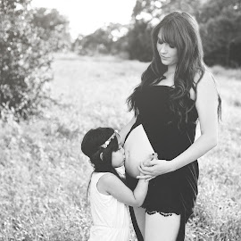 Love before Sight by Katelyn Ege - People Maternity ( love, child, maternity, sisters, monochrome, black and white, family, outdoors, pregnancy, candid )