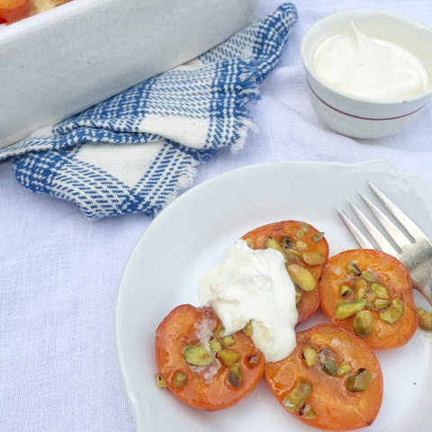 Brown Sugar Roasted Apricots with Creme Fraiche