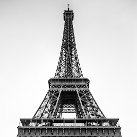 Eiffel in Black and White by Tom Baker - Buildings & Architecture Statues & Monuments ( eiffel tower, paris, tour eiffel, monument, architecture )