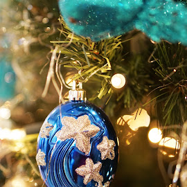 Blue bubble by Alice Chia - Public Holidays Christmas ( bubble, tree, stars, silver, christmas, gold )