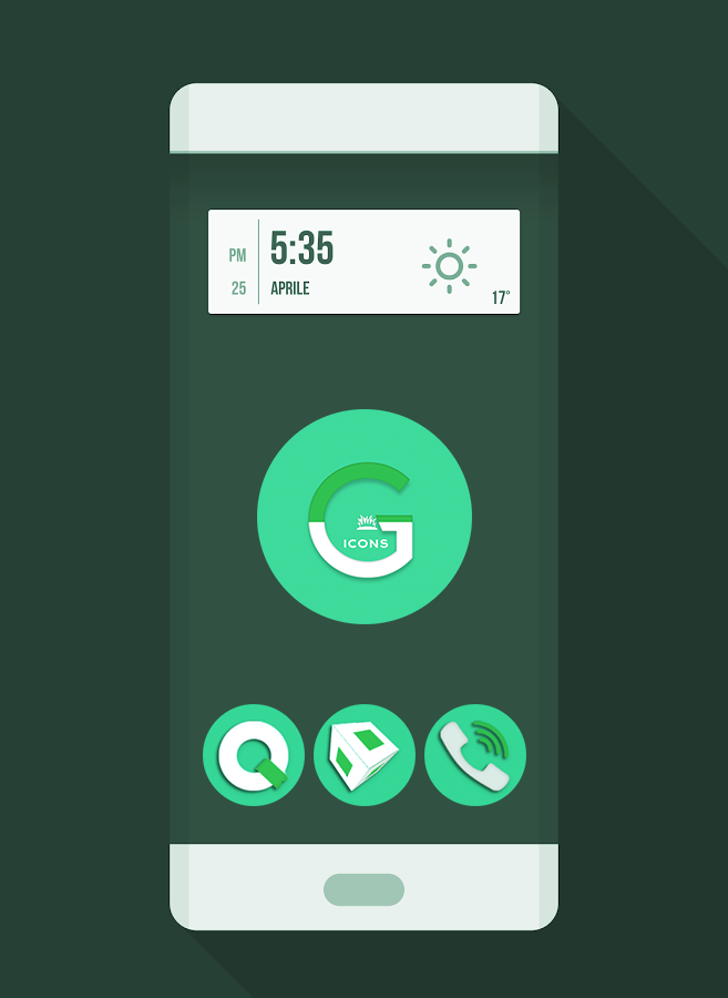 OJ Green - Round Icon pack Screenshot