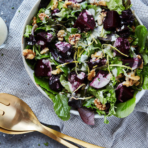 Spring Greens Salad with Roasted Beets, Walnuts and Creamy Feta Vinaigrette {gluten-free, primal}