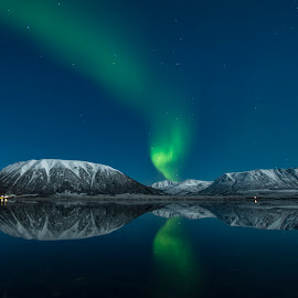 Aurora by Jens Andre Mehammer Birkeland - Landscapes Mountains & Hills ( reflection, snow, northern lights, aurora borealis, reflections )
