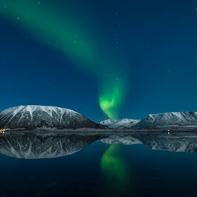 Aurora by Jens Andre Mehammer Birkeland - Landscapes Mountains & Hills ( reflection, snow, northern lights, aurora borealis, reflections,  )