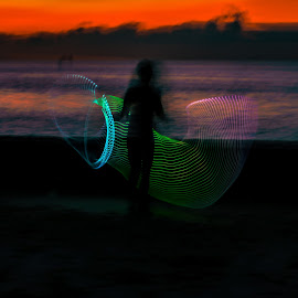 Pink to Blue by Don Kuhnle - Abstract Light Painting ( hoola hoop, light, colors )