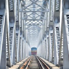 incoming...... by (͡° ͜ʖ ͡ °) - Transportation Railway Tracks ( bangladesh, railway, architecture, bridge, transportation, travel, tain )