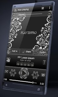 Black floral PlayerPro Skin - screenshot