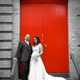 LOVE AND THE RED DOOR  by Heidi Gutry - Wedding Bride & Groom ( colour, black and white, wedding )