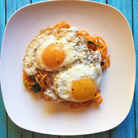 Sweet Potato Noodles + Spinach & Fried Eggs (Whole30)
