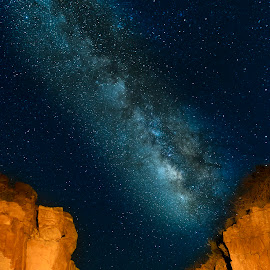 Trail To The Milky Way by Jim O'Neill - Landscapes Starscapes ( milkyway, tx, texas state parks, light painting, state parks, fort davis, texas, night sky, milky way )