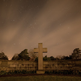 Graveyard at night by Froddy Baun - Buildings & Architecture Places of Worship ( fanø, night, denmark, cross, graveyard,  )