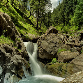 Waterfall near Pahalgam by Ajay Sood - Landscapes Waterscapes ( wild, misty waters, turquoise, ajay, waterfall, sood, long exposure, travelure, pahalgam, slow shutterspeed, Water )
