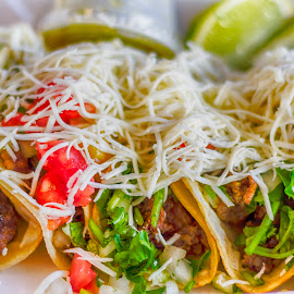 tacos by Luis Escobar - Food & Drink Meats & Cheeses ( shell, tomato, tacos, lettuce, food, meat, chesse )