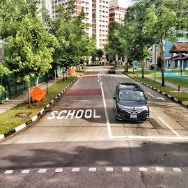 School zone by Wing Yin Cheong - City,  Street & Park  Street Scenes ( car, stop, caution, school zone, day, road )
