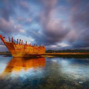 The Last Day of The Broken Ship by Bertoni Siswanto - Transportation Boats ( sunrise & sunset, seascapes, boats, transportation, landscape )