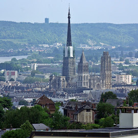 Rouen from above by Ciprian Apetrei - City,  Street & Park  Vistas ( traditional, city, perspective, france, architecture )