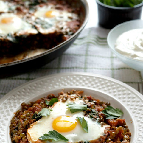 Baked Eggs with Lentils, Tomatoes and Whipped Goat Cheese