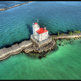 Fairport harbor Lighthouse by James Rudick - Buildings & Architecture Other Exteriors ( drone, harbor, hdr, lighthouse, aerial, quadricopter )