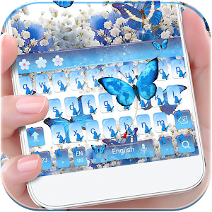 Download Blue Butterfly Keyboard Theme Baby's Breath Flower For PC Windows and Mac