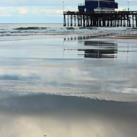 Pier at Low Tide by Jeannine Jones - Landscapes Beaches