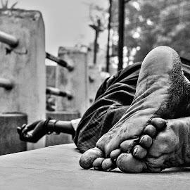 Lazy Afternoon Sleep by Pritam Joardar - City,  Street & Park  Street Scenes ( black and white, poverty, street, street scenes, people )