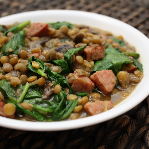 Lentil Soup with Spinach and Sausage
