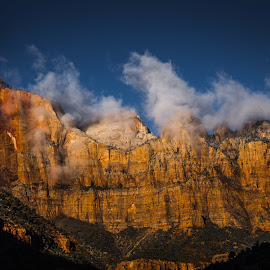 Clouds at the top by Leslie Heisey - Landscapes Travel ( clouds, desert, color, yellow, panoramic )