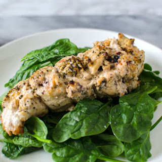 Roasted Cream Cheese Stuffed Greek Chicken Breast