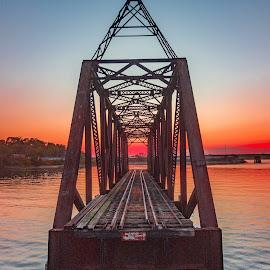 Maine Train Trestle Bridge by Russell Thomas - Buildings & Architecture Bridges & Suspended Structures ( drone, maine, sunset, train, ocean, aerial, bridge, abandoned )