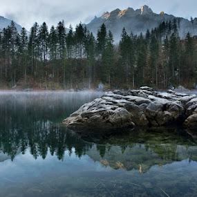 The First Light by Henrik Spranz - Landscapes Mountains & Hills ( water, mirror, mountains, stone, lake, sunrise, alpes )