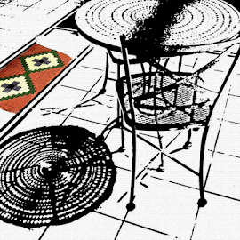 Table and Chair by Edward Gold - Digital Art Things ( digital photography, table top, colored tiles, green tiles, chair, red tiles, yellow tiles, black and white, lines, table, digital art,  )