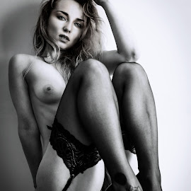 Black stockings by Paul Phull - Nudes & Boudoir Boudoir ( stockings, blonde, sexy, black and white, heels )