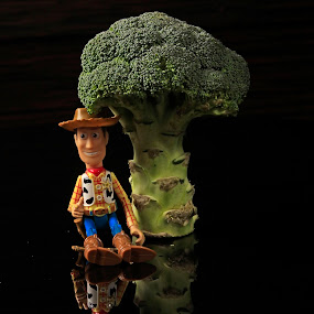 Woody under the tree by Cristobal Garciaferro Rubio - Artistic Objects Toys ( green, woody, vegetables, reflections, broccoli, pwcvegetables )