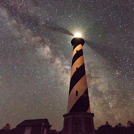 Cape Hatteras Lighthouse by Carol Ward - Buildings & Architecture Public & Historical ( milky way galaxy, cape hatteras lighthouse, obx, nc, cape hatteras, lighthouse, architecture, nightscape, milky way )