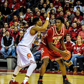 Nigel Hayes on the court by Jason Lockhart - People Portraits of Men ( basketball game, sports, nigel hayes, big ten, wisconsin badgers )