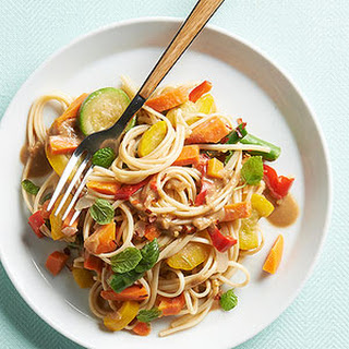 Peanut Sauced Veggies and Noodles