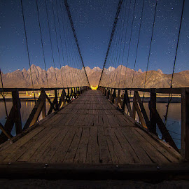 Sailing Bridge in Moon Night by Basharat Ali - Landscapes Mountains & Hills ( mountains, riverside, night photography, stars, bridge, landscape, night shot, photography )