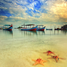 boats and starfishes by Henry Pribadi - Transportation Boats