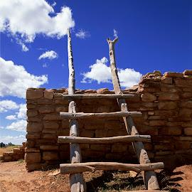 Ladder to the Sky by Dale Kesel - Buildings & Architecture Public & Historical ( clouds, ladder, cumulus, colorado, remote, historic, anasazi, native american, landmark, blue sky, spiritual, pueblo, dramatic, ruins )