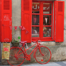 red bicycle by Nico Kranenburg - Transportation Bicycles ( caen, streetview, red, france )